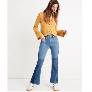 Madewell x ISKO Rigid Patchwork Flare Jeans